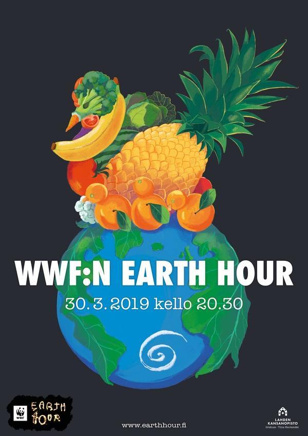 Vapaa akatemian Earth Hour –julisteiden näyttely 30.3.2019 asti Lahden pääkirjaston aulassa