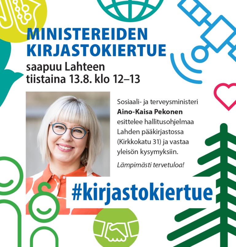 Sosiaali- ja terveysministeri Aino-Kaisa Pekonen Lahden pääkirjastossa
