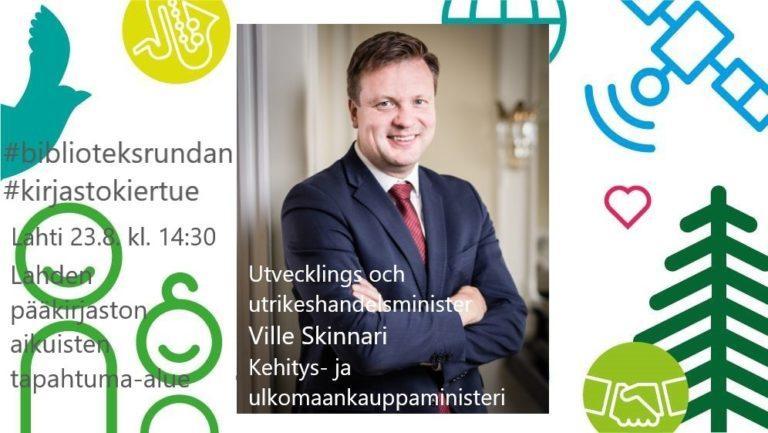 Kehitysyhteistyö- ja ulkomaankauppaministeri Ville Skinnari Lahden pääkirjastossa