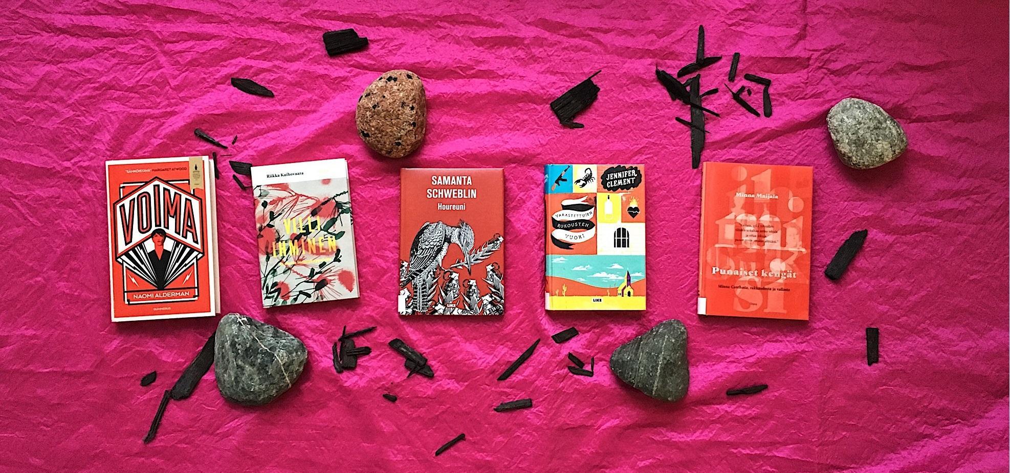 Kirjat: Voima, Villi ihminen, Houreuni, Varastettujen rukousten vuori ja Punaiset kengät punaisella kankaalla