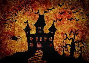 Halloween-taustakuva, linna ja lepakoita