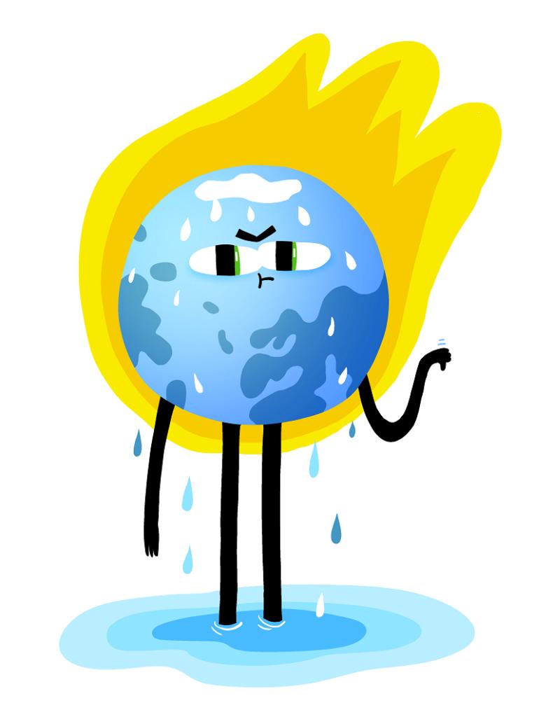 Maapalloa muistuttava sininen piirroshahmo hikoilee. Sen takana on suuri keltainen tulipallo ja alapuolella vesilammikko.