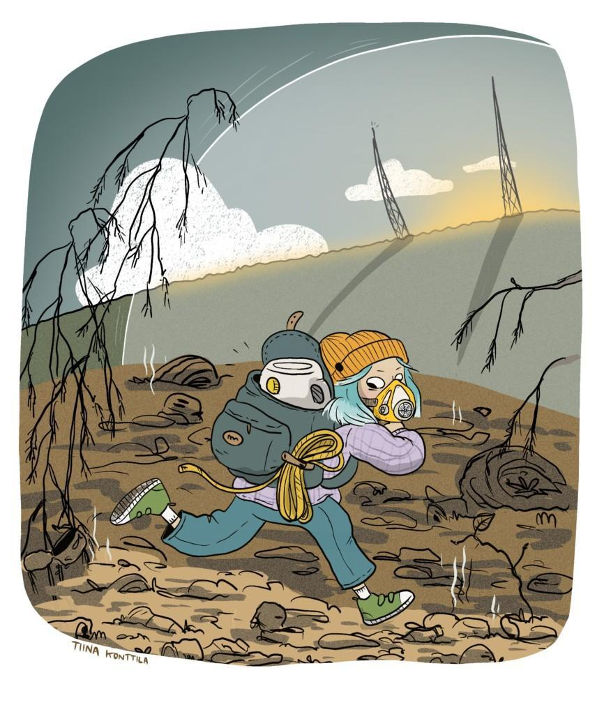 Tyttö juoksee happimaski kasvoilla. Ympäristö on ruskea ja saastunut. Horisontissa näkyy radiomastot ja auringon kajo sekä hieman kupua.
