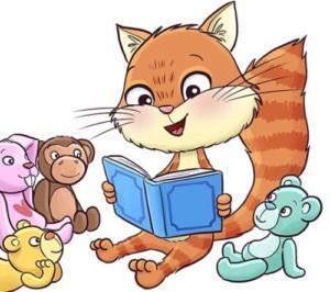 Piirroskuvassa kissa lukee kirjasta satuja pehmoeläimille.