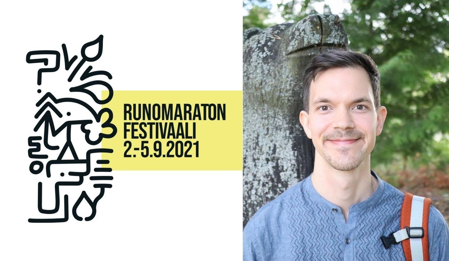 Runomaratonin logo ja Niklas Salmi.